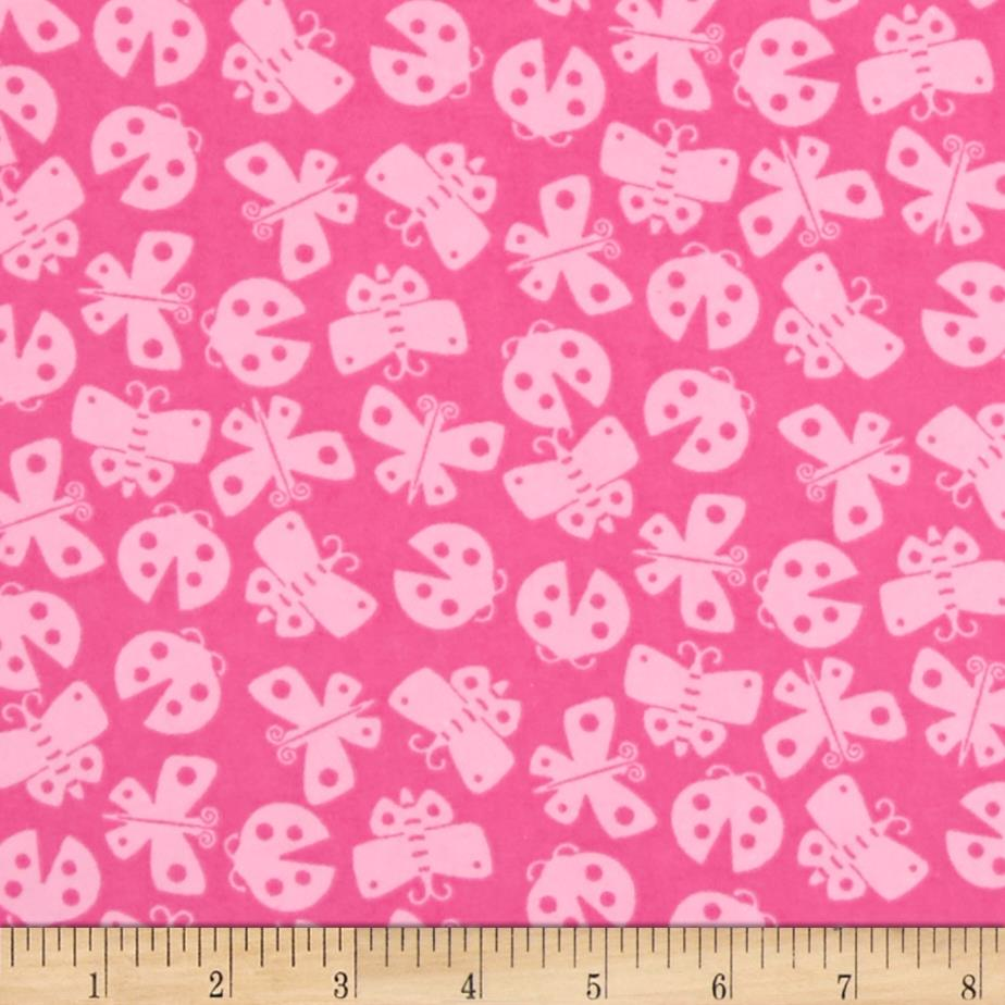 Comfy Flannel Tossed Butterflies Pink