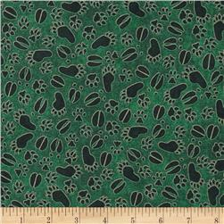 Cabin Country Paw Prints Green