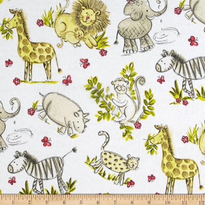 Flannel Zoo Animals White