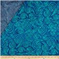 Indian Batik Double Sided Quilted Large Swirl Turquoise/Blue