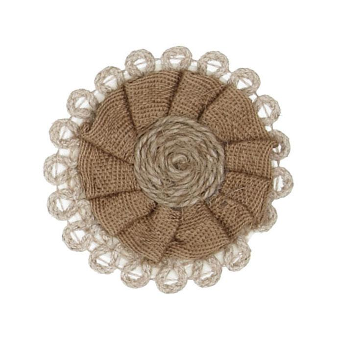 Braided Hemp Loop Round Applique Natural
