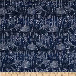 Cloud 9 Organic Moody Blues Voile Shahiko Bird Navy