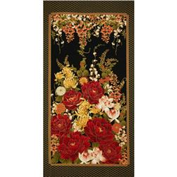 Timeless Treasures Imperial Garden Metallic Floral Panel Black