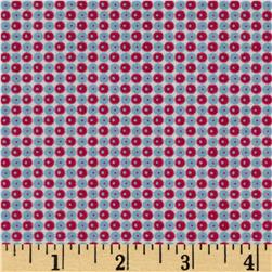 Homespun Chic Tiny Geometric Bursts White/Lt Blue/Red