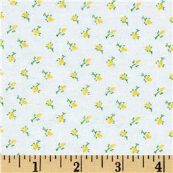 Aunt Polly's Flannel Rosebud White/Yellow