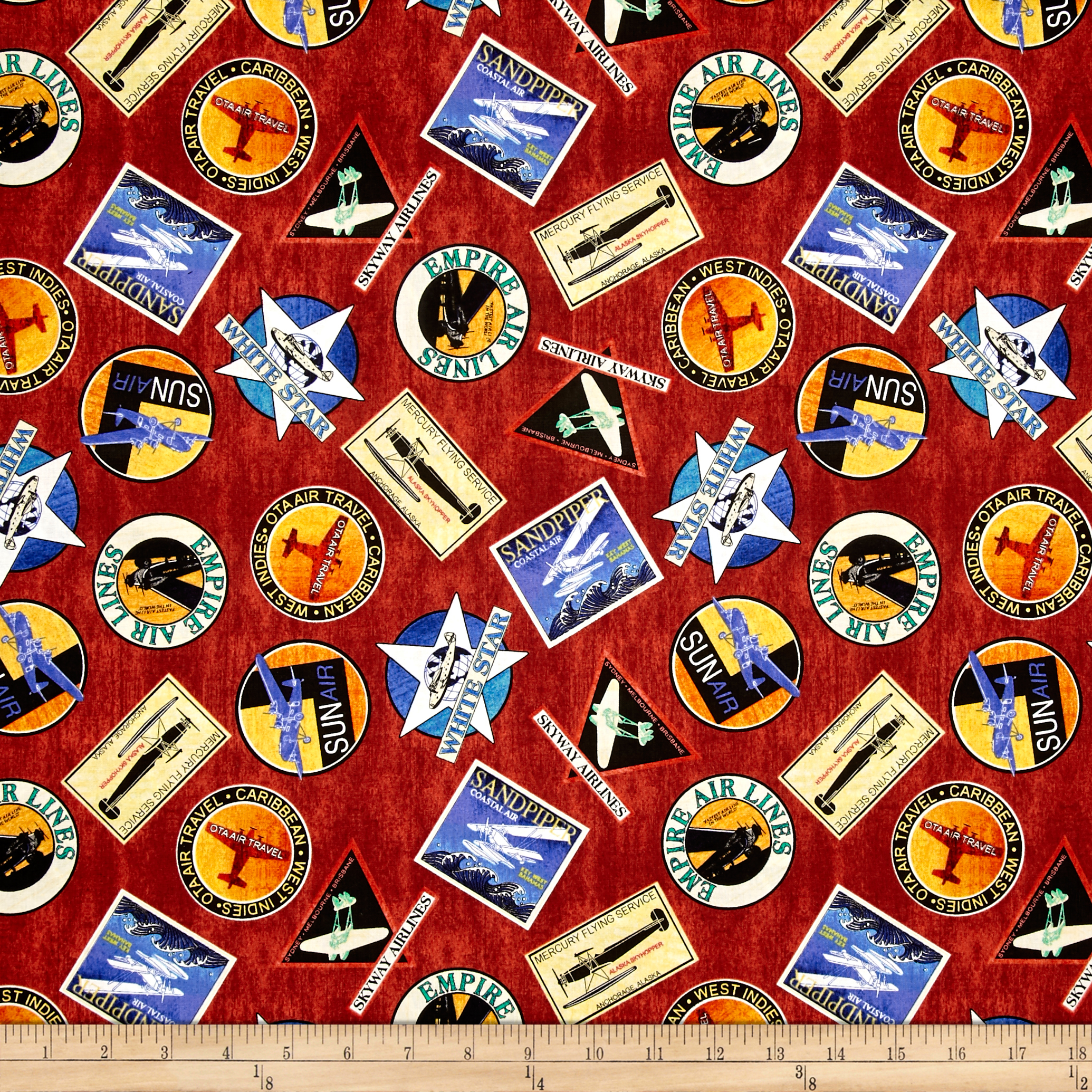 Aviator Logos Brick Fabric by Quilting Treasures in USA