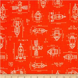 Kaufman Spaced Out Spaceships Drawings Orange