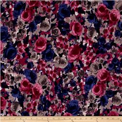 Jersey Knit Large Floral Purple