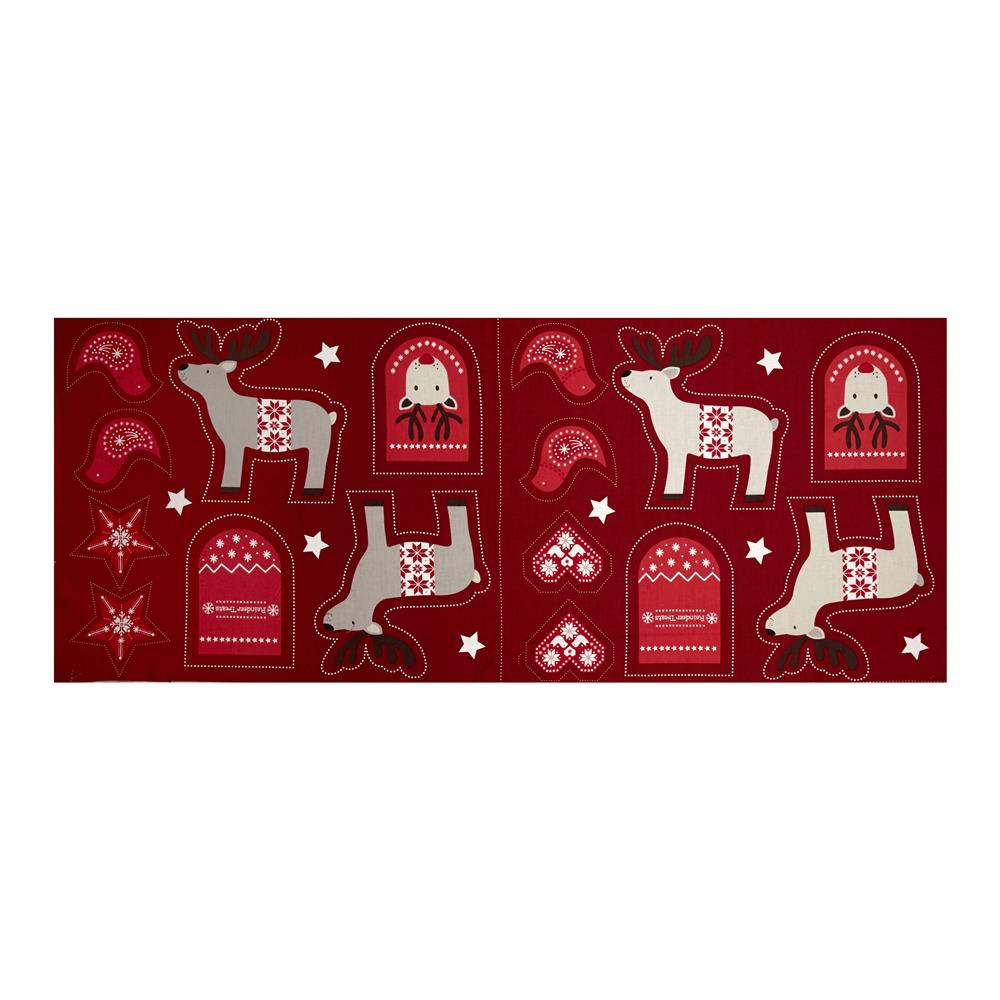 When I Met Santa's Reindeer Ornament 18 In. Panel Red Fabric By The Yard
