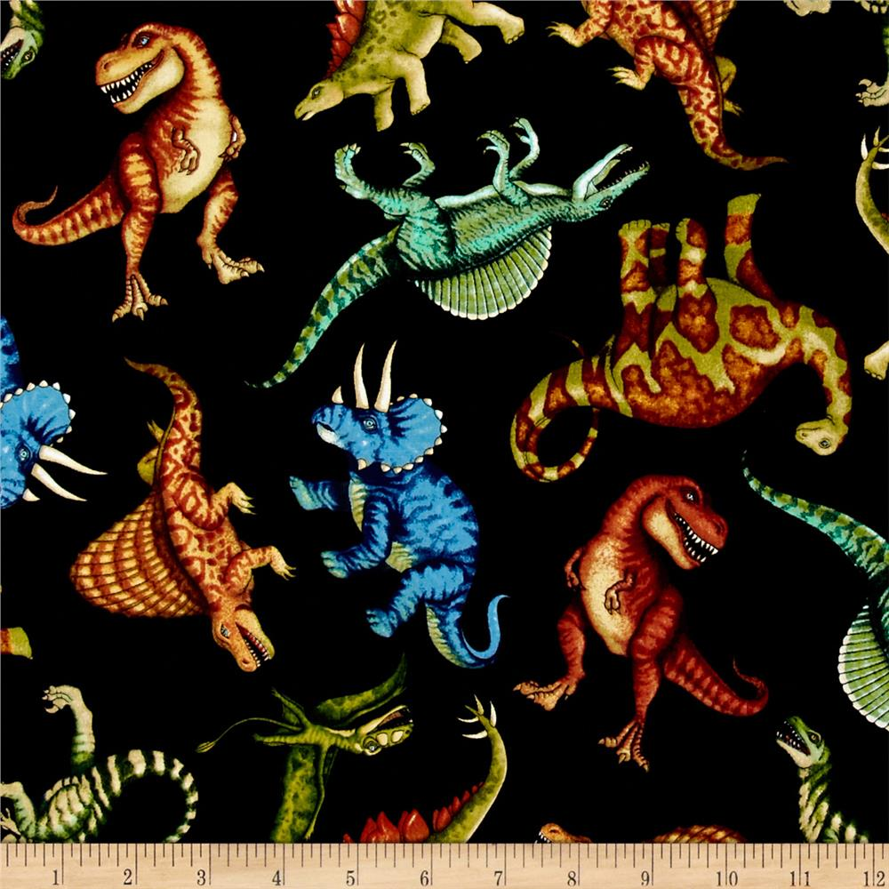 Jurassic jungle dinosaurs black discount designer fabric for Dinosaur fabric