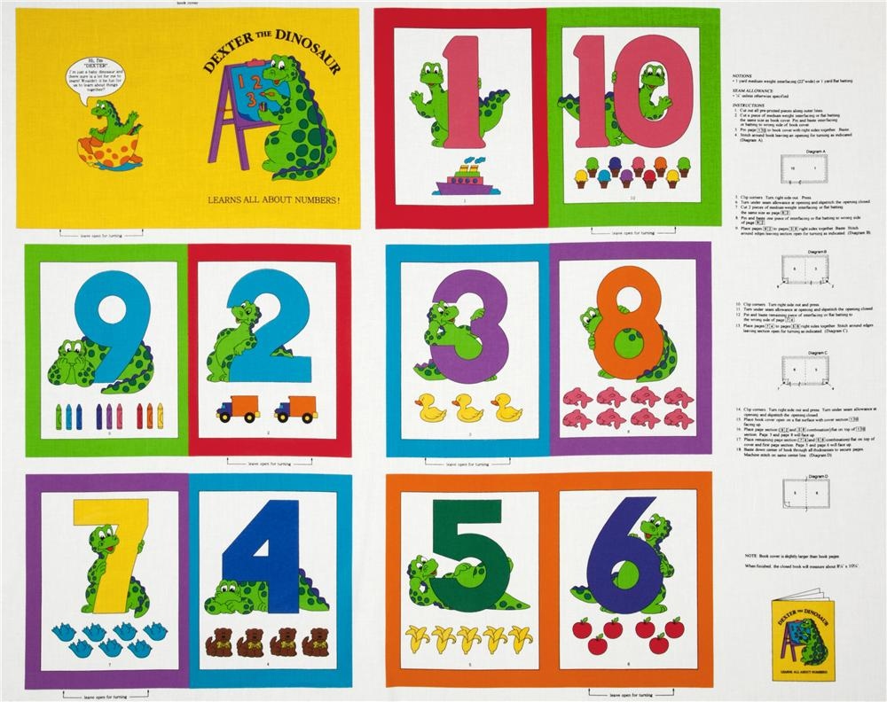 Dexter the Dino Soft Book Numbers Panel Yellow