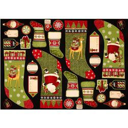 Santa's Gifts Stocking and Label Panel Black/Multi