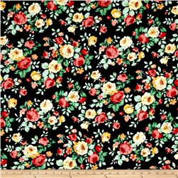 Liverpool Double Knit Print Florals Black/Peach/Yellow/Blue