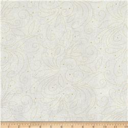 110'' Wide Quilt Backing Scroll White/Gold