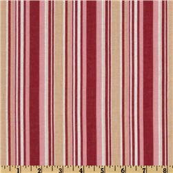 Cotton Voile Stripes Red/Tan/White
