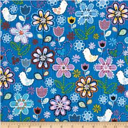 Stitches In Bloom Bird Floral Blue