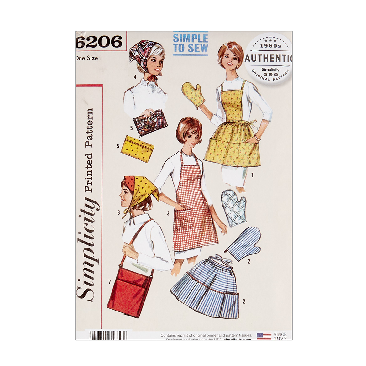 Vintage Aprons, Retro Aprons, Old Fashioned Aprons & Patterns Simplicity 6206 Vintage Gift and Accessories OS One Size $13.77 AT vintagedancer.com