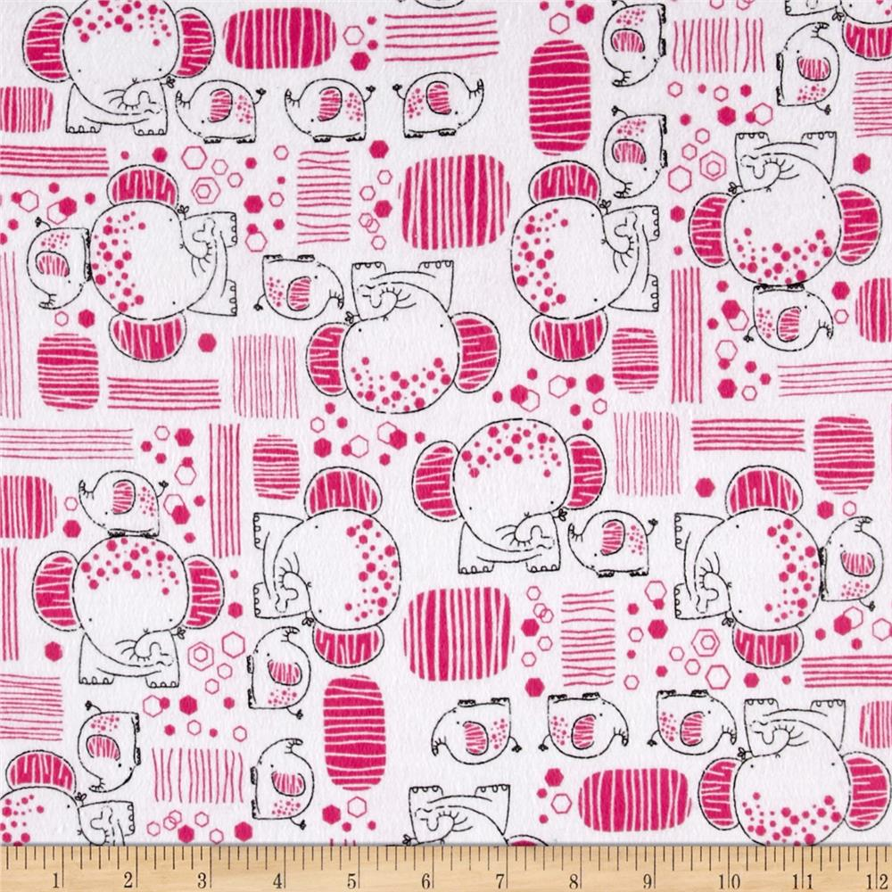 Flannel Mama & Baby Elephants Pink