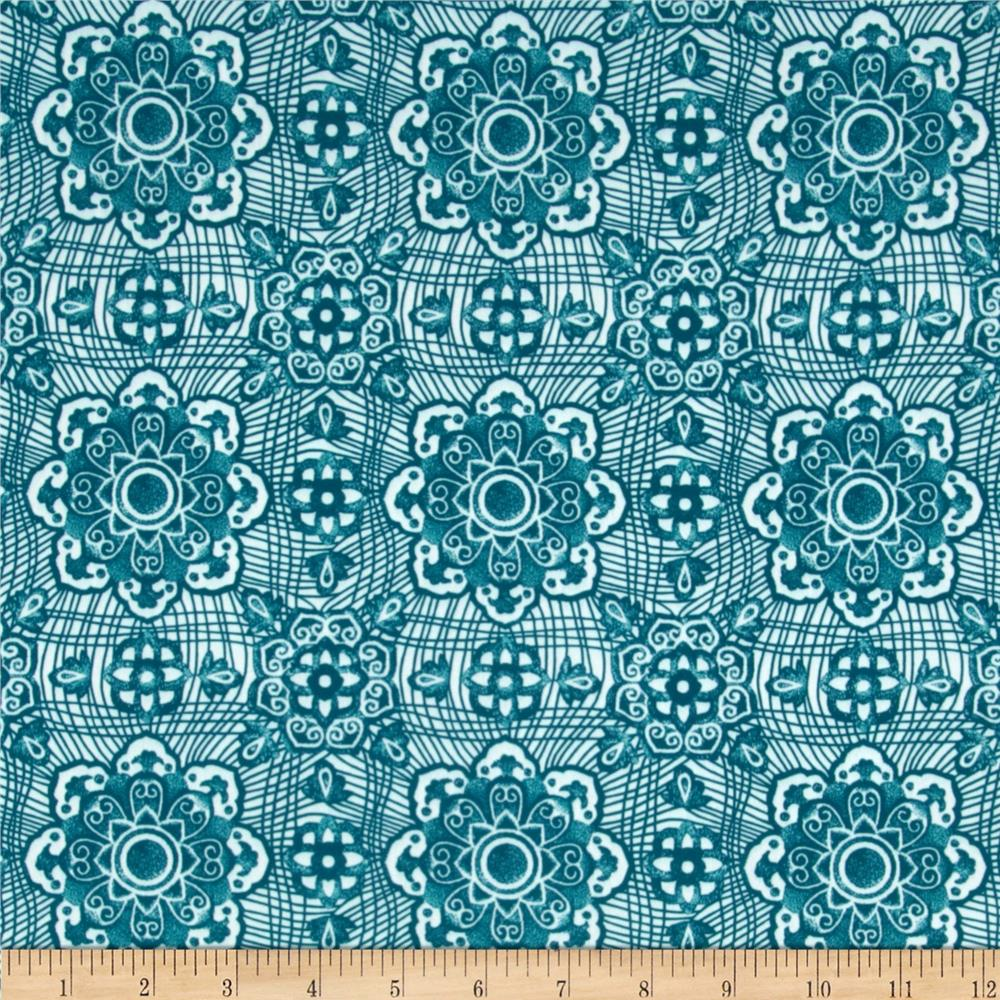 Designer Stretch Nylon Floral Teal/White