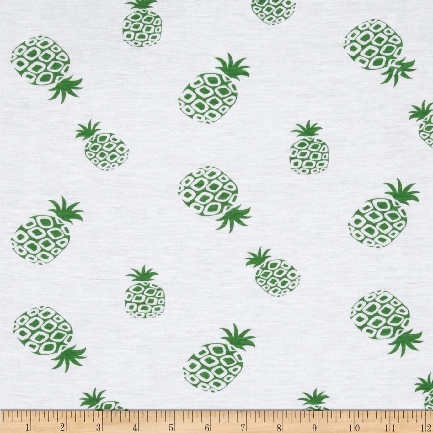 Designer Stretch Jersey Knit Pineapple Green Fabric