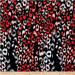 Rayon Challis Abstract Animal Navy/Red