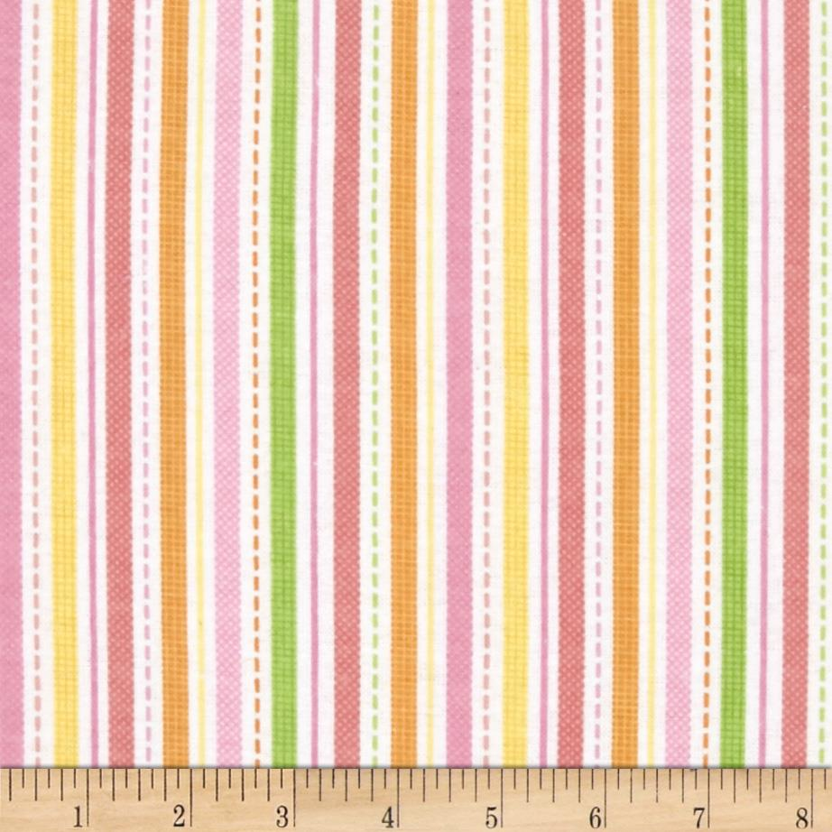 Alpine Flannel Spring Flower Stripes Coral