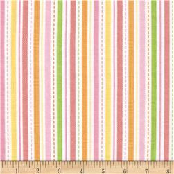Alpine Flannel Spring Flower Stripes Coral Fabric