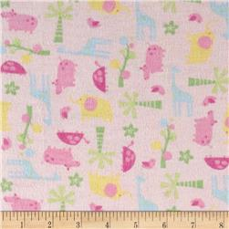 Tiny Zoo Flannel Pink