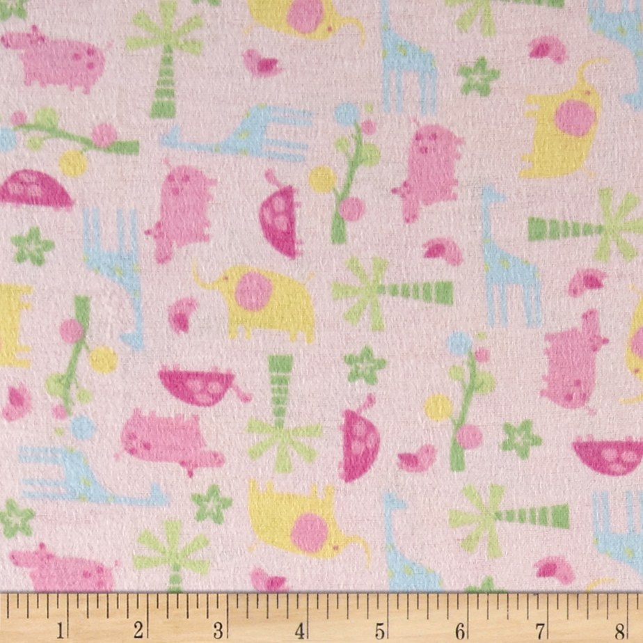 Tiny Zoo Flannel Pink Fabric by Newcastle in USA