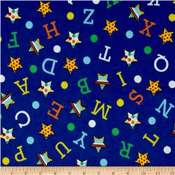 Flannel Novelties Tossed Stars, Numbers, Letters Blue