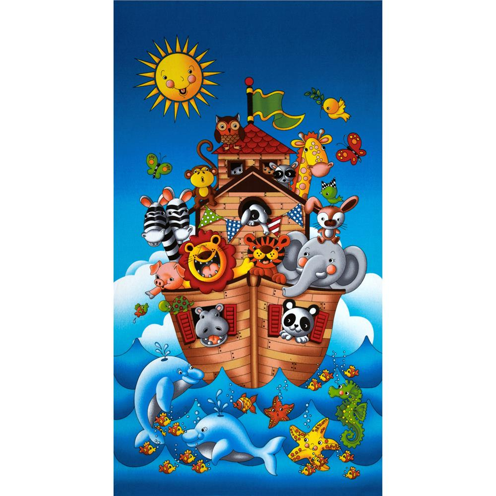 Noah's Ark Flannel Panel Blue