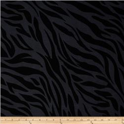 Cotton Lycra Jersey Knit Zebra Animal Black/Grey
