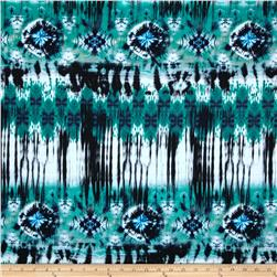 Spandex ITY Jersey Knit Tie Dye Print Green/Black/Blue/Cream