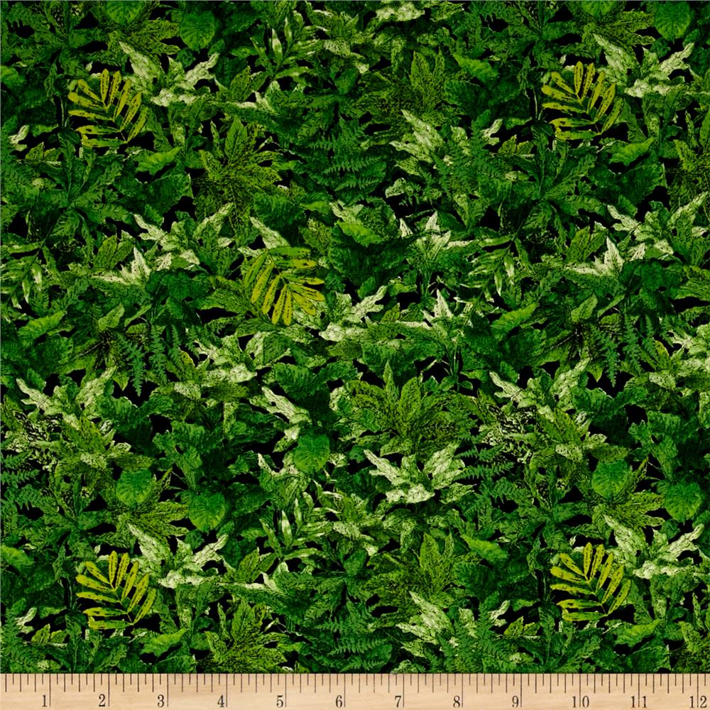Jurassic Jungle Foliage Green Discount Designer Fabric