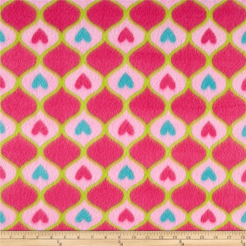 Pretty in Pink Diamond Hearts Fleece Pink Fabric By The Yard