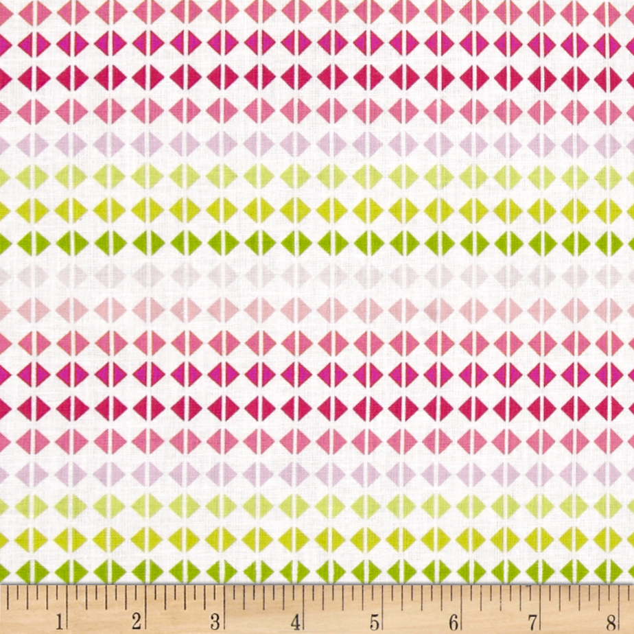 Hot House Flowers Diamond Grid Pink Fabric