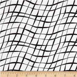 Sketchbook Diagonal Wavy Plaid White
