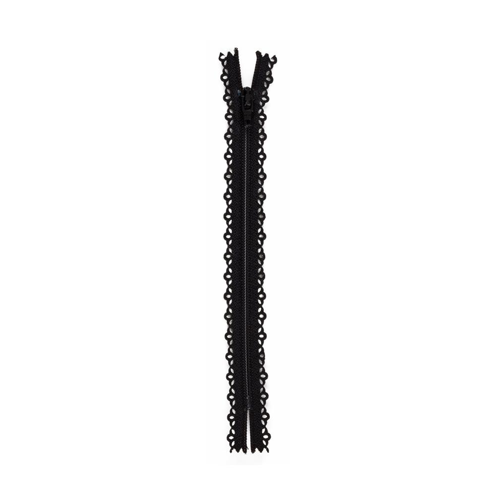 Fashion Cutwork Zipper 22'' Black