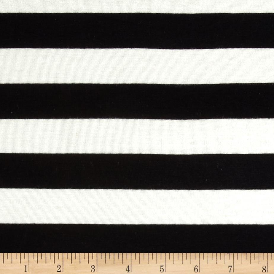 Stretch Rayon Jersey Knit Large Stripe Black/Off White Fabric By The Yard
