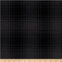 11.6 oz Wool Melton Plaid Grey/Black