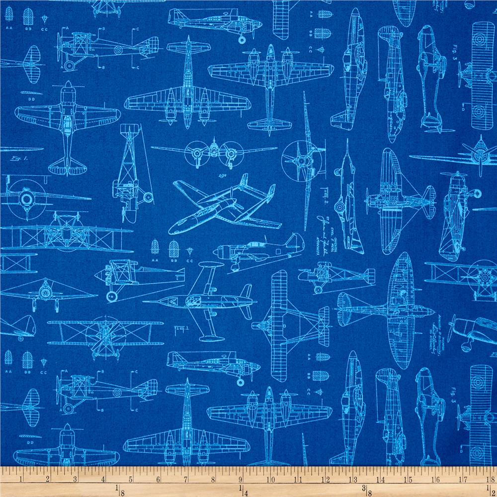 Aviator plane blueprints royal discount designer fabric fabric malvernweather