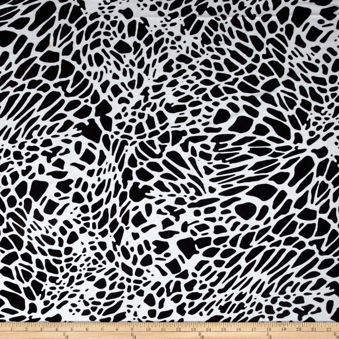 Stretch Jersey Knit Animal Print White/Black