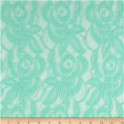 Cotton Blend Lace Flowers Seafoam Green