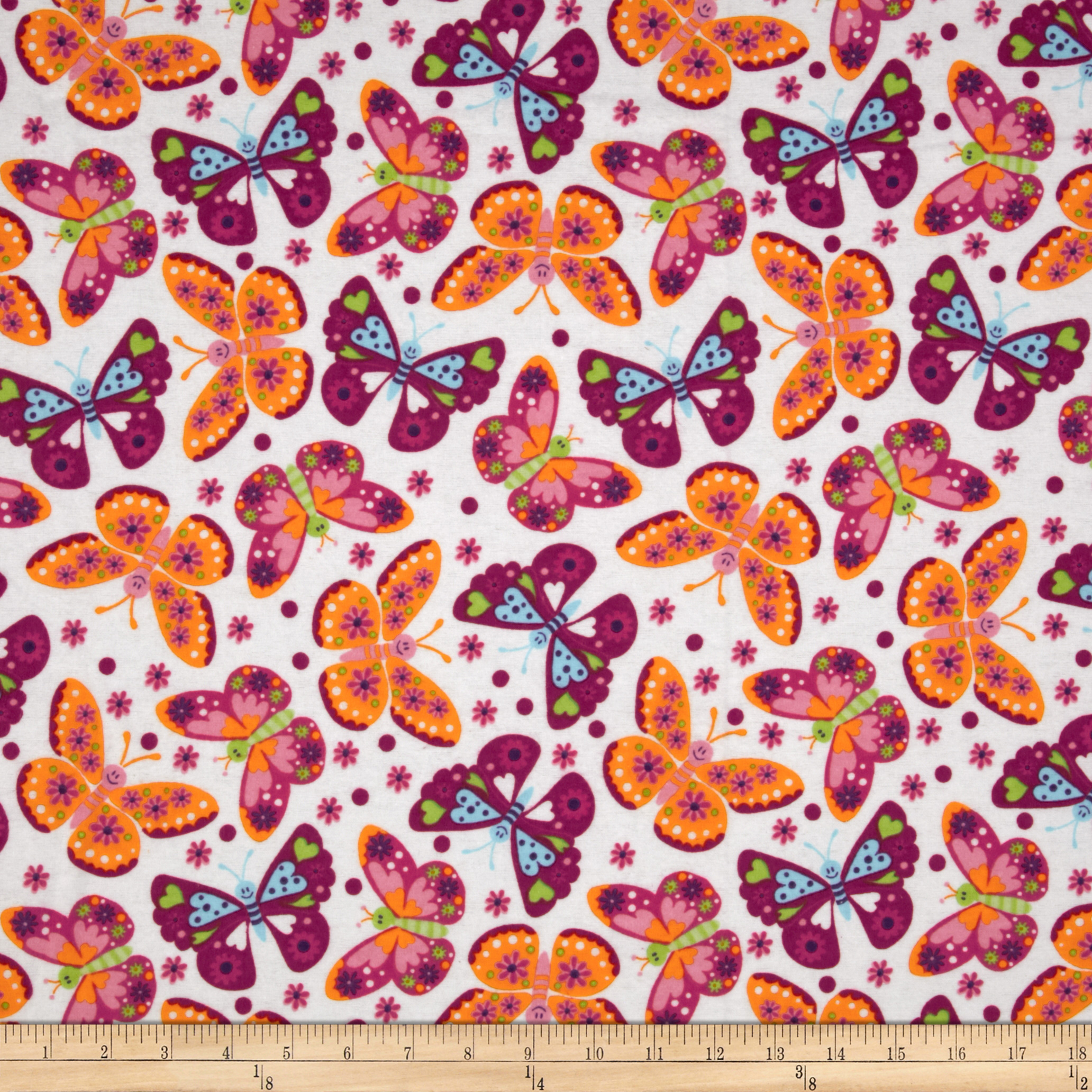 Flannel Tossed Butterflies White Fabric