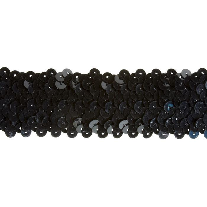 "1 1/2"" Stretch Metallic Sequin Trim Black"