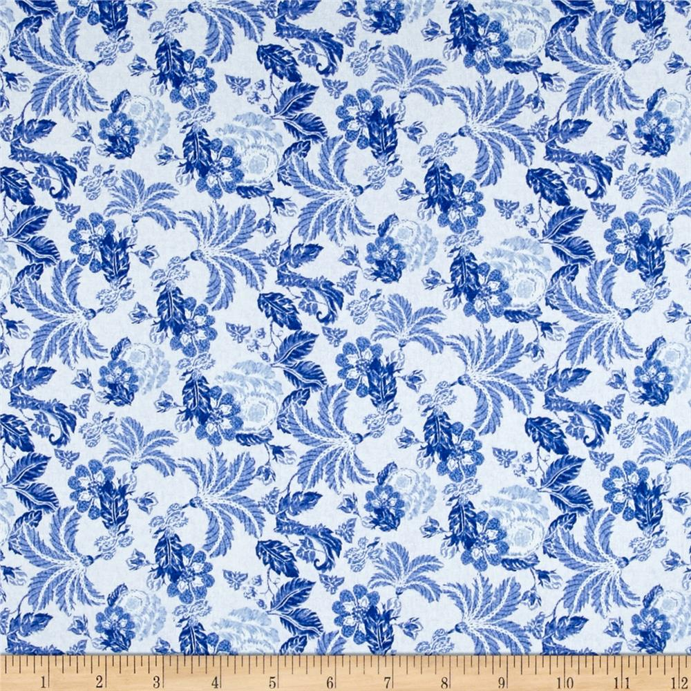 Telio Morocco Blues Stretch Cotton Shirting Waterford Print
