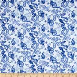 Telio Morocco Blues Stretch Poplin Waterford Print Blue