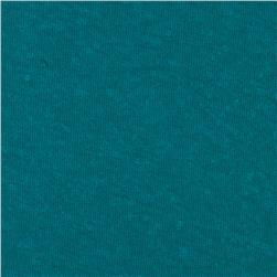Distressed Cotton Poly Jersey Knit Teal Blue