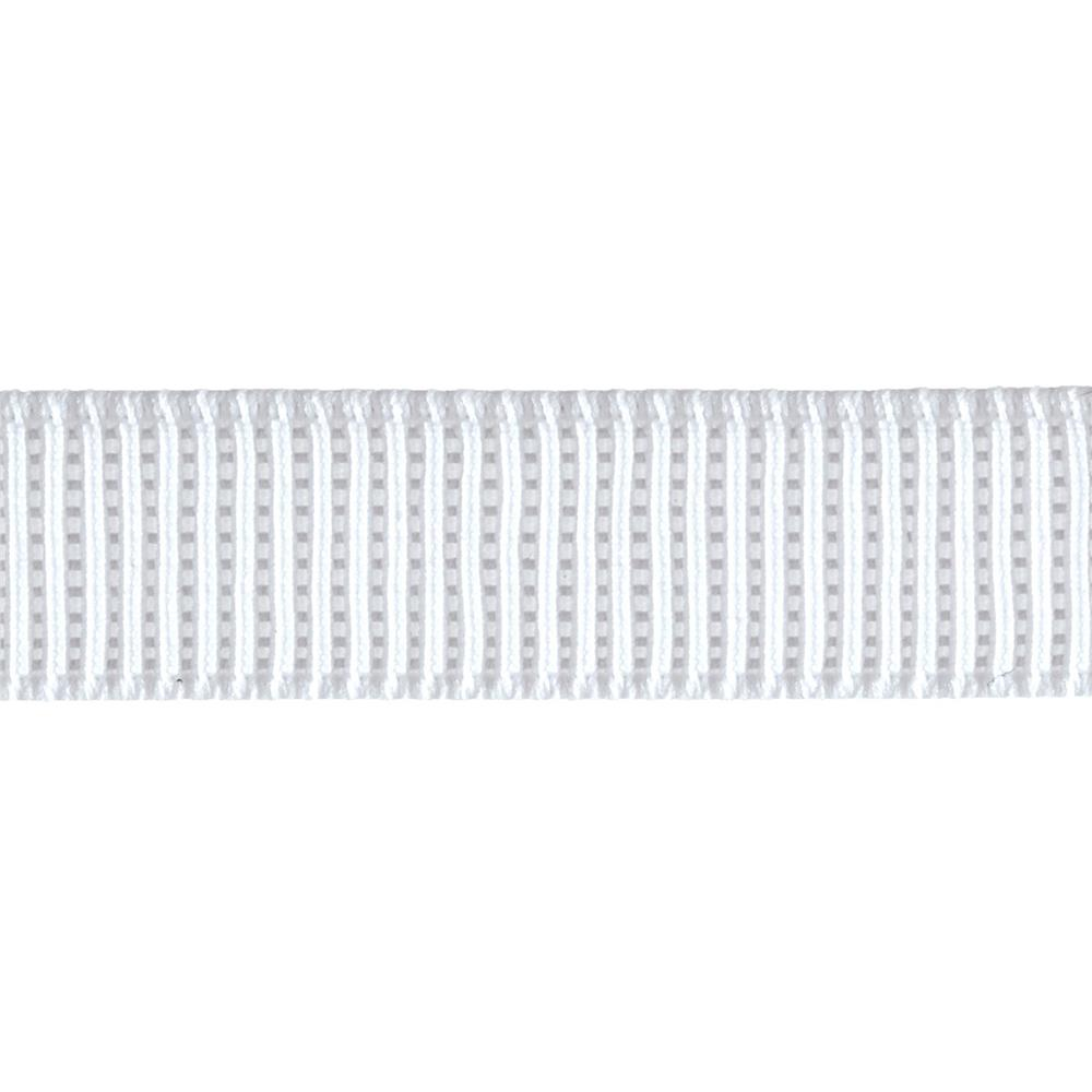 "3/4"" Non-Roll Ribbed Elastic White"