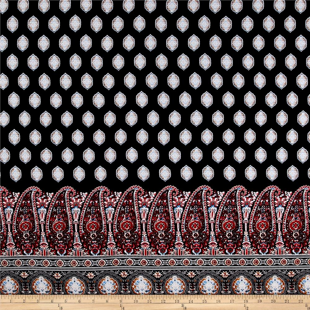Rayon Challis Large Paisley Red/Black/Taupe